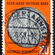 Postage stamp Germany 1958 Heraldic Eagle 5M Coin — Stock Photo