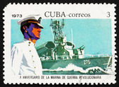 Postage stamp Cuba 1973 Midshipman and Missile Frigate — Stock Photo