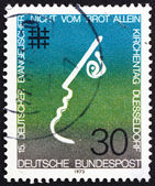 Postage stamp Germany 1973 Not by Bread Alone — Stock Photo