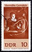 Znaczku nrd 1967 dziewczyna zbierania winogron, gerard dou — Zdjęcie stockowe