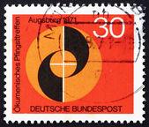 Selo postal igrejas evangélica e católica de alemanha 1971 — Foto Stock