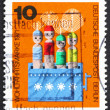 Stock Photo: Postage stamp Germany 1971 Movable Dolls in Box