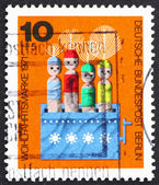 Postage stamp Germany 1971 Movable Dolls in Box — Stock Photo