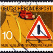 Stockfoto: Postage stamp Germany 1971 Warning Signal