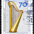 Postage stamp Germany 1973 Pedal Harp, 18th Century — Stock Photo #13654894