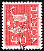 邮票挪威 1963年石刻 — 图库照片