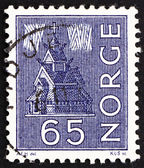 Postage stamp Norway 1963 Stave Church and Northern Lights — Stock Photo