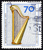 Postage stamp Germany 1973 Pedal Harp, 18th Century — Stock Photo
