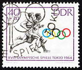 Postage stamp GDR 1964 Two Runners, Tokyo 64 — Stock Photo