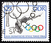 Postage stamp GDR 1964 Woman Diver, Tokyo 64 — Stock Photo