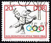 Postage stamp GDR 1964 Judo, Tokyo 64 — Stock Photo