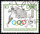 Postage stamp GDR 1964 Volleyball, Tokyo 64 — Stock Photo