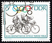 Postage stamp GDR 1964 Bicycling, Tokyo 64 — Stock Photo