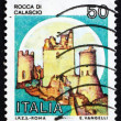 Postage stamp Italy 1980 Rocca di Calascio, Castle - Stock Photo