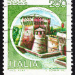 Postage stamp Italy 1980 Castle Rocca di Mondavio - Stock Photo