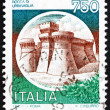 Postage stamp Italy 1990 Castle Rocca di Urbisaglia - Stock Photo