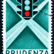 Postage stamp Italy 1957 Traffic Light - Stock Photo