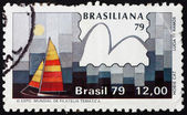 Postage stamp Brazil 1979 Hobie Cat Class, Yachts and Stamps — Stock Photo