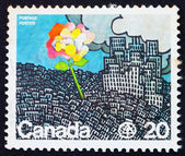 Postage stamp Canada 1976 Flower Growing from City — Stock Photo