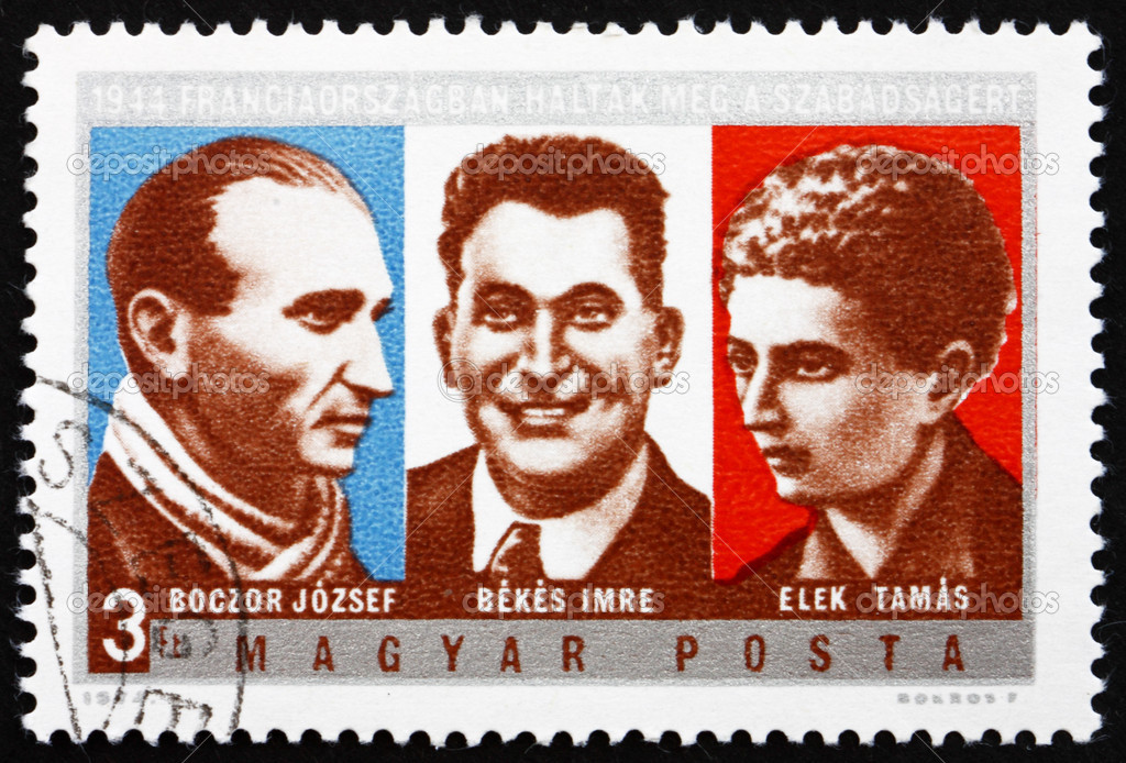 HUNGARY - CIRCA 1974: a stamp printed in the Hungary shows Jozsef Boczkor, Imre Bekes, Tamas Elek, 30th Anniversary of the Death of Hungarian Resistance Fighters, ci — Stock Photo #14005391