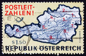 Postage stamp Austria 1976 Map of Austria with Postal Zone Numbe — Stock Photo