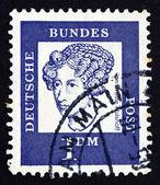 почтовая марка германии 1961 аннет фон дросте hulshoff, писатель — Стоковое фото