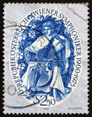 Postage stamp Austria 1975 Stylized Musician Playing a Viol — Stock Photo