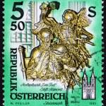Postage stamp Austria 1993 Death, Wooden Statue — Stock Photo