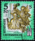 Postage stamp Austria 1993 Death, Wooden Statue — Stock Photo