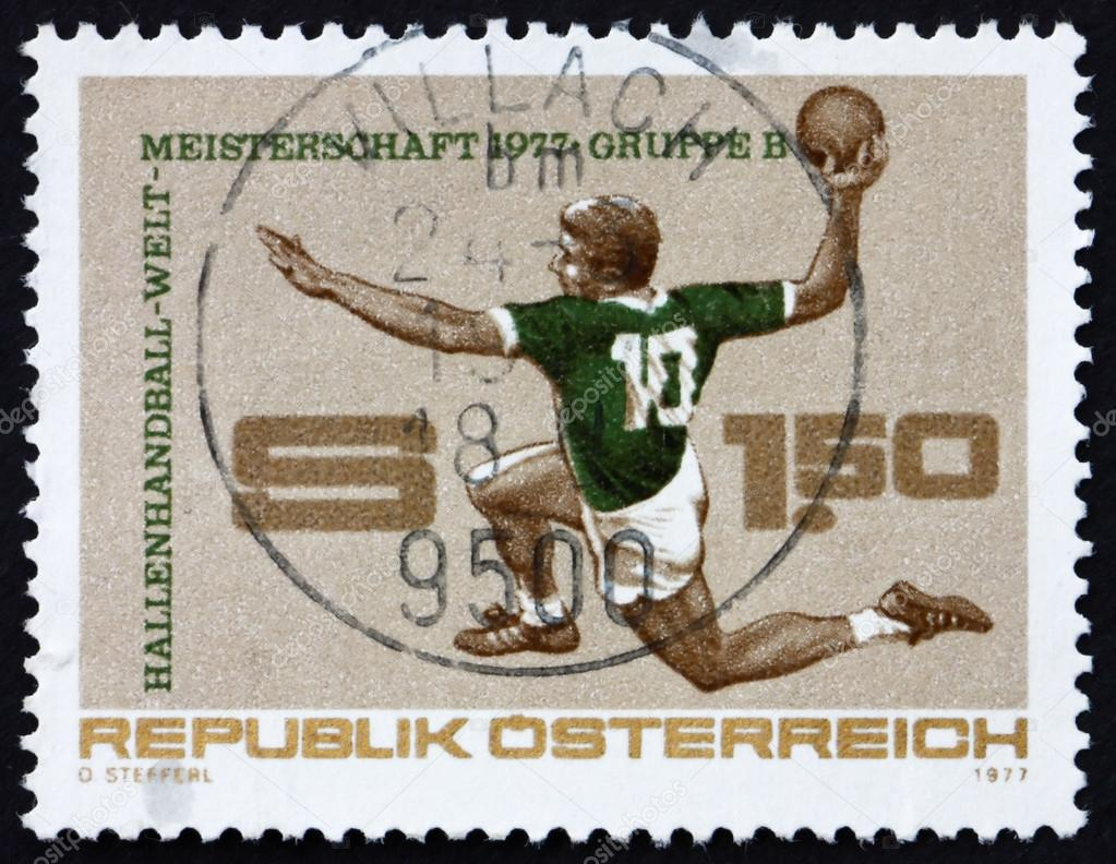 AUSTRIA - CIRCA 1977: a stamp printed in the Austria shows Handball, World Indoor Handball Championships, Austria, circa 1977  Stock Photo #14312575