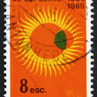 Stock Photo: Postage stamp Portugal 1964 Partial Eclipse of Sun