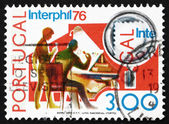 Postage stamp Portugal 1974 Stamp Collectors, Interphil 76 — Stock Photo