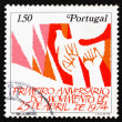 Postage stamp Portugal 1975 Hands and Dove - Stock Photo
