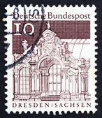 Briefmarke deutschland 1967 wand pavillon, zwinger, dresden — Stockfoto