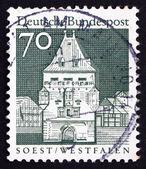 Briefmarke deutschland 1967 osthofen tor, soest, westfalen — Stockfoto