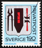 Postage stamp Sweden 1986 Arms of Harjedalen Province — Stock Photo