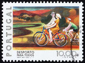 Postage stamp Portugal 1978 Bicycling — Stock Photo