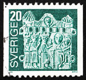 Postage stamp Sweden 1976 Pilgrim's Badge, Adoration of the Magi — Stock Photo