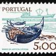 Postage stamp Portugal 1978 Fishing Bark and modern Ship — Stock Photo