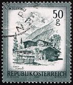 Postage stamp Austria 1975 Farmhouses, Zillertal, Tirol — Stock Photo