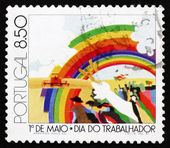Postage stamp Portugal 1981 Workers and Rainbow — Stock Photo