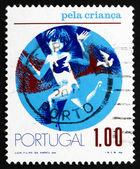 Postage stamp Portugal 1973 Child and Birds — Stock Photo