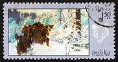Postage stamp Poland 1968 Bear Hunt, Painting — Stock Photo