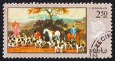 Postage stamp Poland 1968 Fox Hunt, Painting — Stock Photo