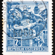 Postage stamp Austria 1968 Dragon Fountain, Klagenfurt - Stock Photo