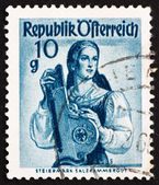 Postage stamp Austria 1948 Woman from Styria, Salzkammergut — Stock Photo