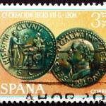 selo postal moeda do Espanha 1968 imperador galba — Foto Stock