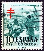 Postage stamp Spain 1951 Children at Seashore — Stock Photo