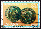 Postage stamp Spain 1968 Emperor Galba Coin — ストック写真