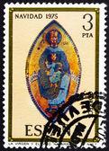 Postage stamp Spain 1975 Madonna, Mosaic, Navarra Cathedral, Chr — Stock Photo